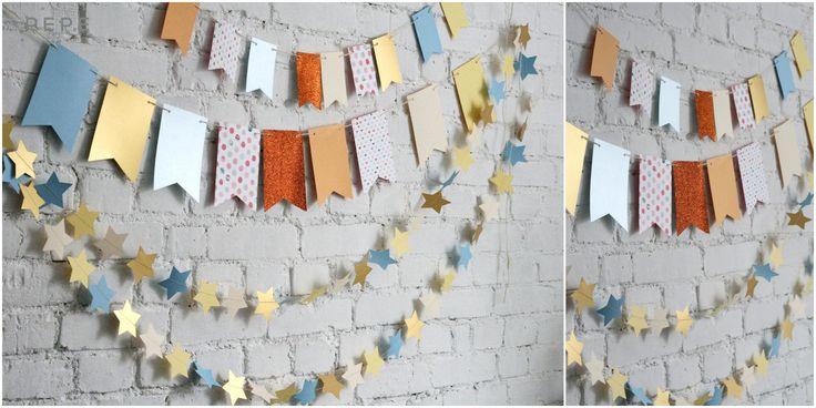 Paper garland, birthday session garland, photo props, hand made, birthday session photo props
