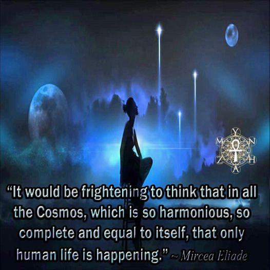 """""""It would be frightening to think that in all the Cosmos, which is so harmonious, so complete and equal to itself, that only human life is happening."""" ~ Mircea Eliade"""