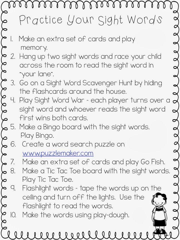 Sight Word Practice ideas.