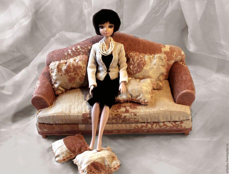 """Купить Диван """"Элисон"""" коралловый - коралловый, мебель для кукол, кукольная мебель, подарок, миниатюрная мебель"""