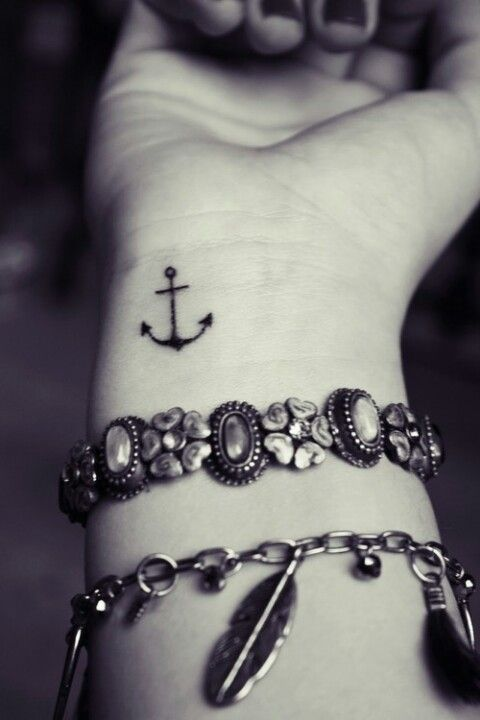 This small anchor tattoo in the corner of the wrist looks great with the combo of bracelets :)  love !