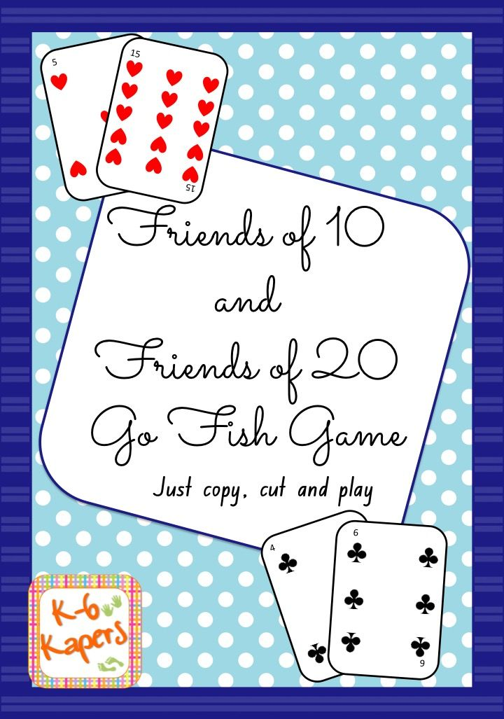 Friends of 10 or friends of 20 Go Fish Game