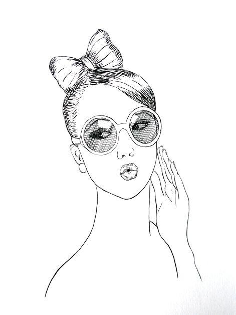 Portrait Frau mit Schleifchenzopf, Tusche auf Künstlerpapier Din A4