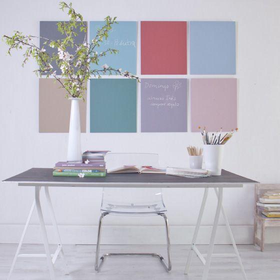 Nuestra paleta de colores vintage. Pintura de pizarra. www.cuartocolor.es #pinturaparedes #pizarra #chalkboardpaint