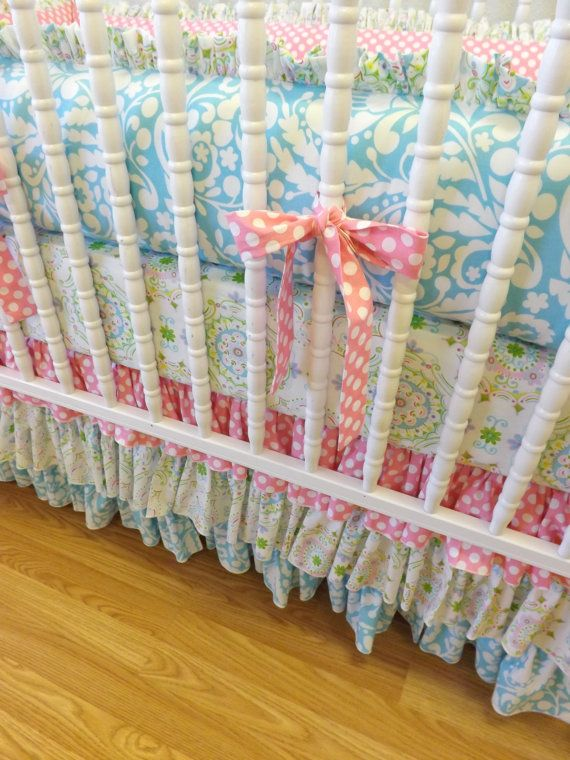 READY to SHIP-- Shabby Chic Baby Girl Crib Bedding