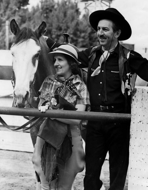 Lillian and Walt Disney on vacation at the B-Bar-H guest ranch in Palm Springs, c. 1948