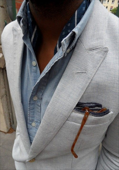 textured blazer, denim shirt, scarf and glasses. all in one | pick up! | Pinterest | Mens fashion, Fashion and Menswear
