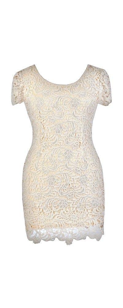 Emilia Lace Pencil Dress in Beige- Plus Size  www.lilyboutique.com