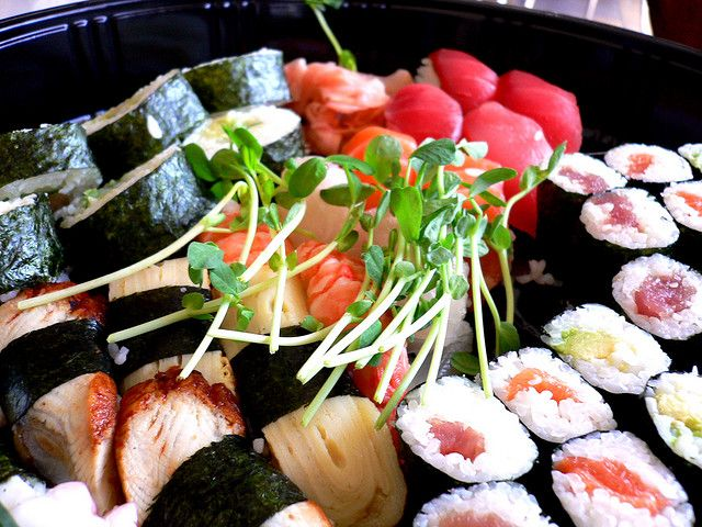 Try this japanese #sushi consists of a piece of raw #seafood placed on a ball of #rice that is seasoned with #vinegar.