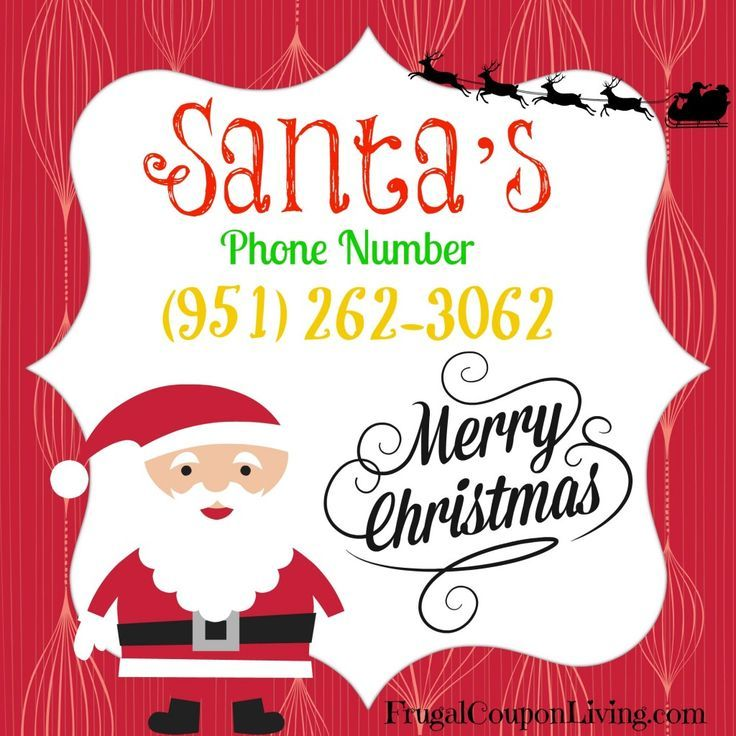 Call this FREE Phone Number for Santa. FREE Pinterest image so you don't loose it for the holiday and Christmas season. Detail on Frugal Coupon Living.