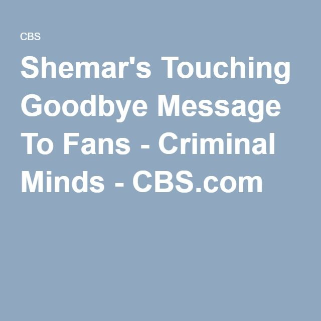 Shemar's Touching Goodbye Message To Fans - Criminal Minds - CBS.com