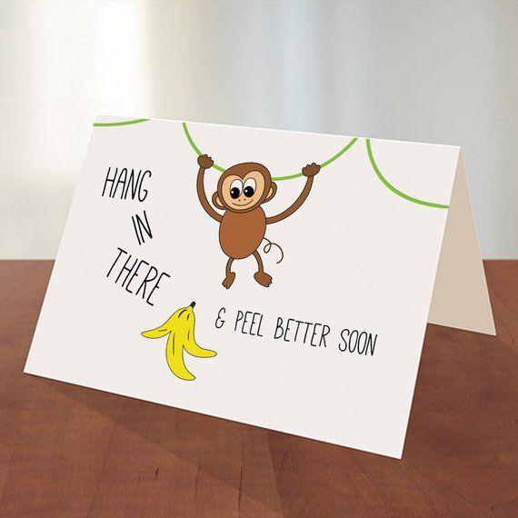 Get Well Soon Monkey Digital Printable Card Etsy In 2021 Printable Cards Printable Greeting Cards Cards