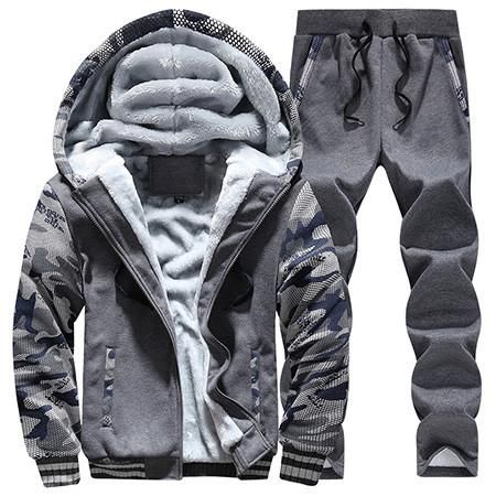 Man's Hoodies&Pants Suit Clothing Man's Winter Plus Velvet Hoodie Men Print Hooded Jacket Coats Long Sleeve And Long Pants