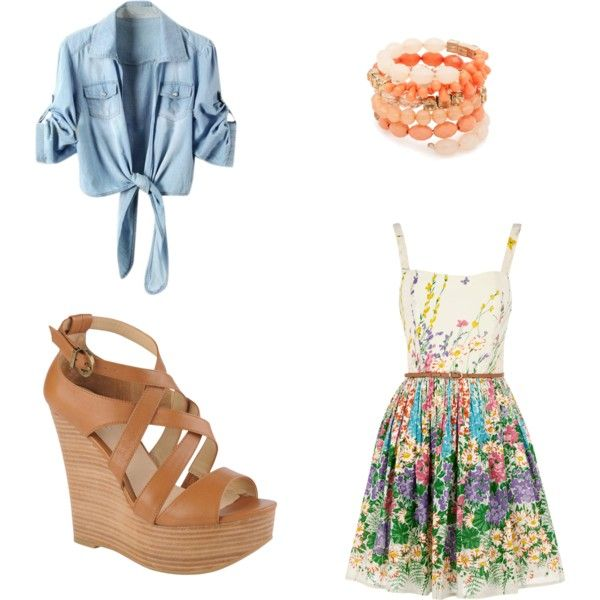 cute floral outfit, created by reganstegall on Polyvore