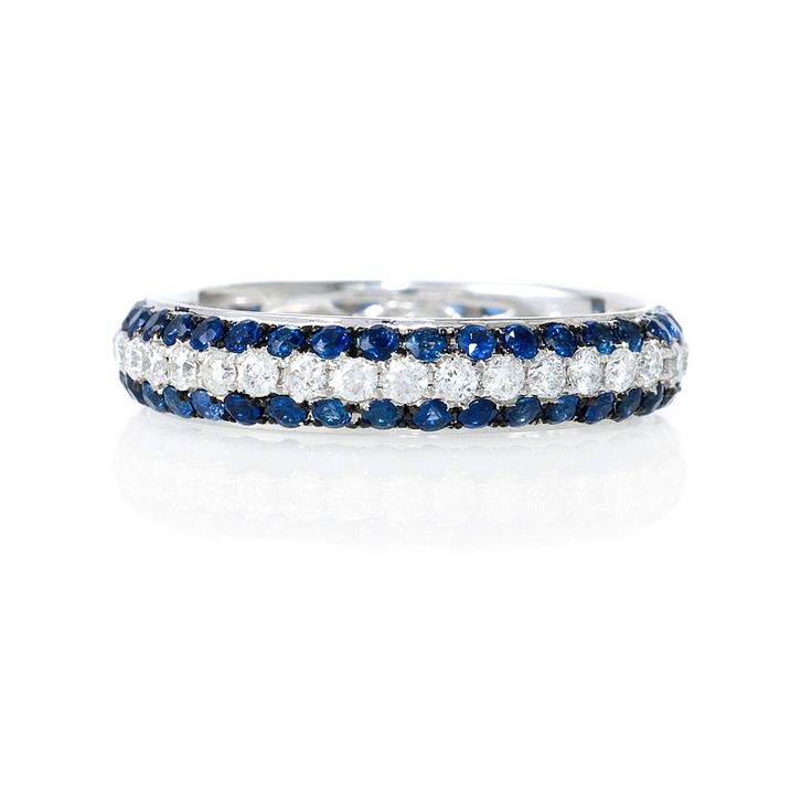 blue and white diamond wedding rings | Diamond and Blue Sapphire 18k White Gold Eternity Wedding Band Ring