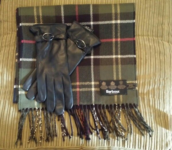 Best way to get through a cold winter!! ~ barbour large tartan merino scarf & roeckl leather gloves with teddy fur inside~
