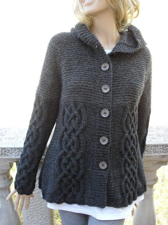Suéter de punto para mujeres de trenzas chaqueta Cardigan abrigo con capucha gris oscuro