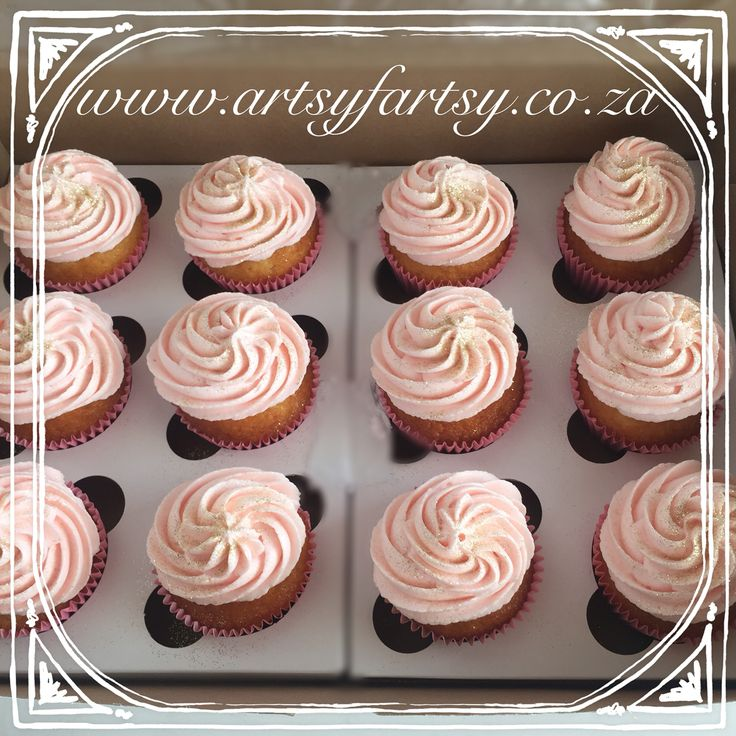 Pink Cupcakes with Gold Glitter #pinkcupcakes
