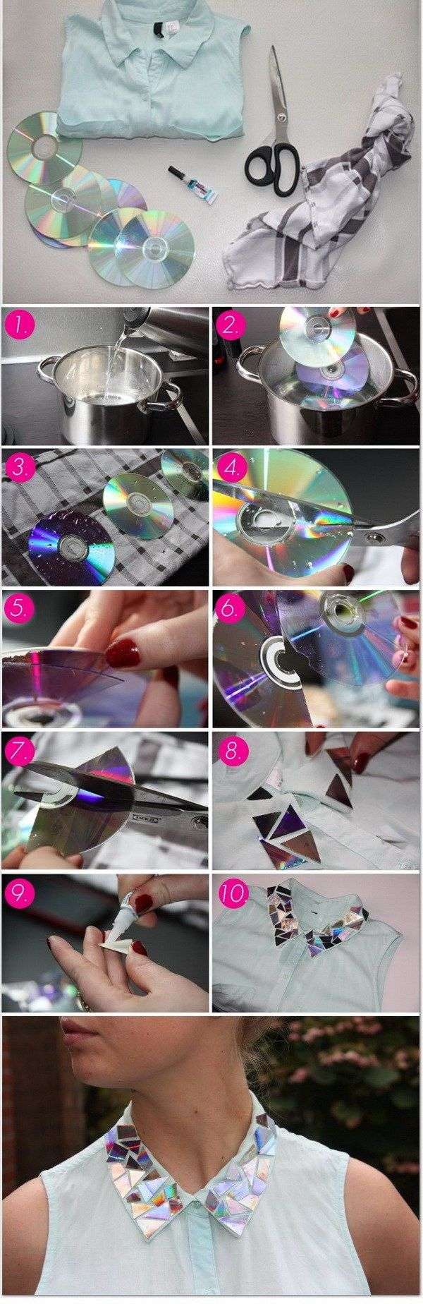 DIY Sparkly Collar with CDs. Refashion the old tmxz,-shirt by creating this sparkle collar with old CD or DVD pieces and get yourself in style.