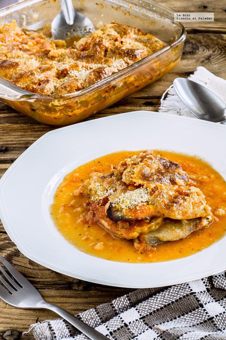 Lasaña de berenjenas. Receta vegetariana con fotografías de cómo hacerla y recomendaciones de como servirla. Recetas vegetarianas fáciles de hacer