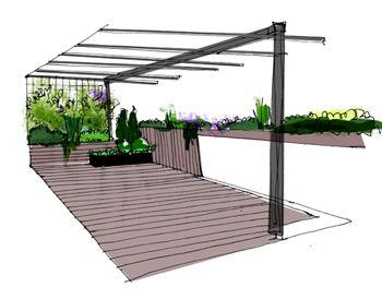 Jardín de diseño en un ático con pérgola #paisajistas