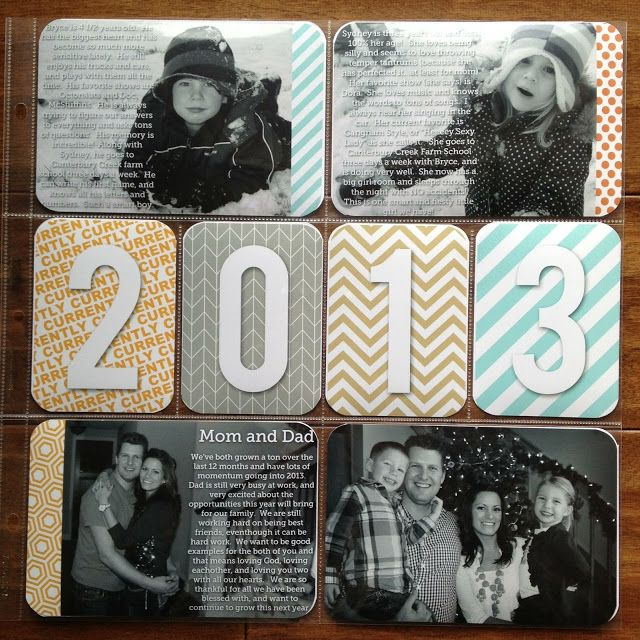 Project Life Idea: Title Page 1. Love the year on filler cards. Simple yet classy. 2. Love the BW photos with white text on them that tell about each person with a small strip of paper on the side