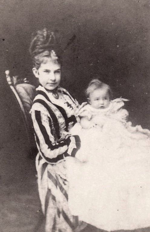 Pss Gisela of Bavaria (nee archduchess of Austria) with eldest daughter, Pss Elisabeth, later countess Otto of Seefried. 1874