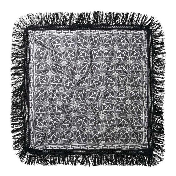 Pentagram chiffon sjaal met franjes zwart/wit - Rock Metal Gothic Pentagram