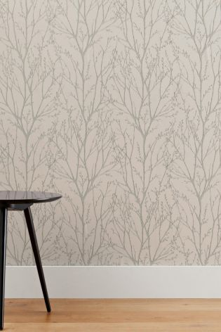 Neutral Twigs Wallpaper from Next UK - think this would be pretty in a hallway