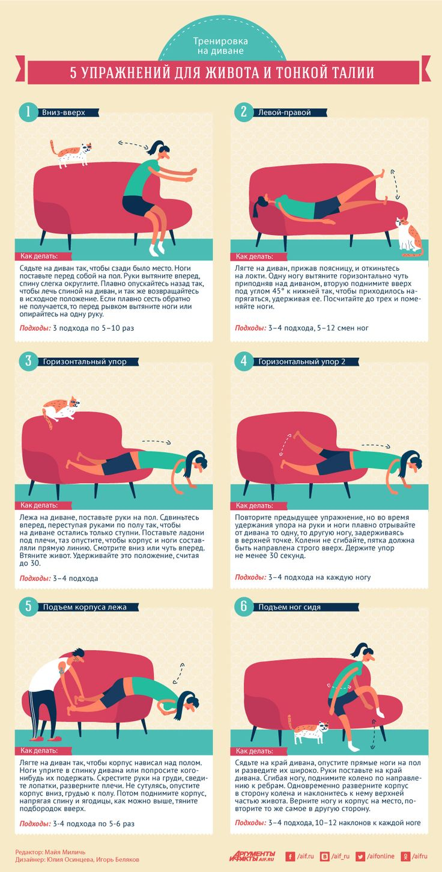Тренировка на диване. 5 упражнений для живота и тонкой талии | Секреты красоты | Здоровье | Аргументы и Факты