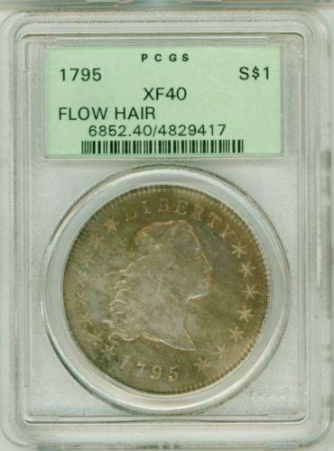 Amazing Premium Quality 1795 Flowing Hair Silver Dollar Early PCGS Graded XF40 | eBay