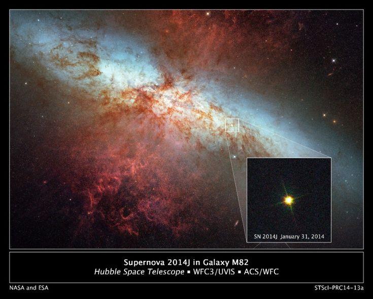 """I telescopi spaziali Hubble e Spitzer hanno entrambi immortalato la violenta esplosione di una Supernova nella galassia M82, detta anche """"Galassia sigaro"""" per via della sua forma vista dalla Terra, a 12 milioni di anni luce da noi. La prima scoperta è del 21 gennaio, quella che semb"""
