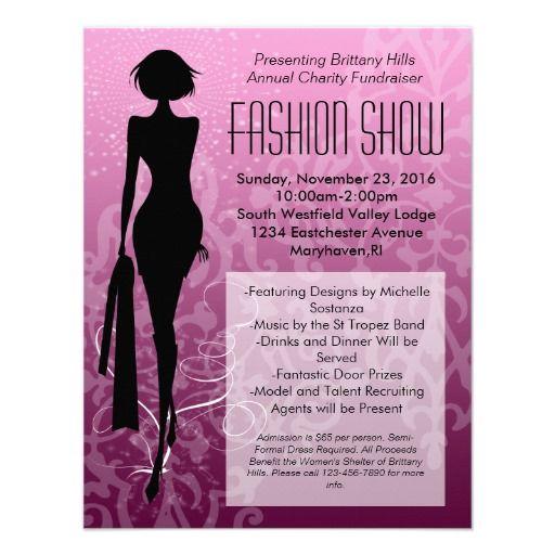 Pink Swirl Silhouette Fashion Show Invitations.  $1.70