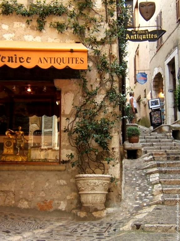 Antique store in Saint-Paul-de-Vence, France, perched on a hill in Provence.