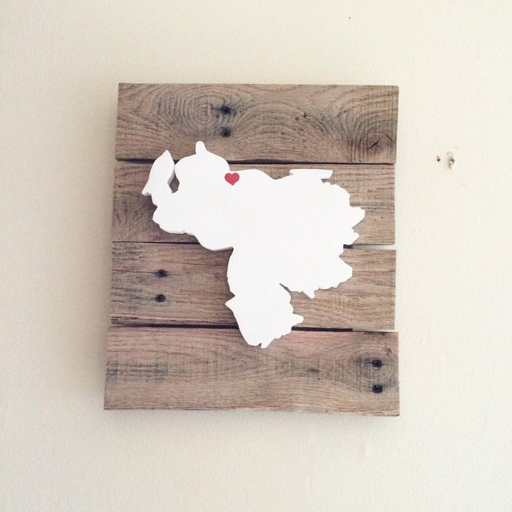 Venezuela Map 3D Silhouette Sign from Reclaimed Wood