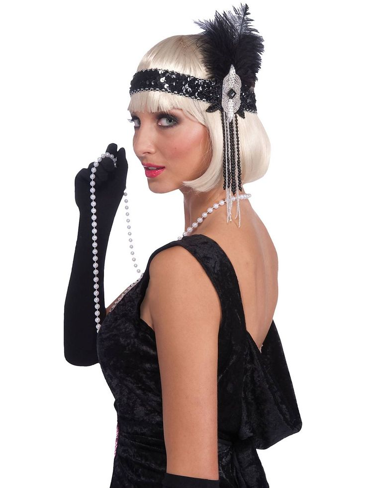Black & Silver Flapper Headband - Halloween Flapper Accessories