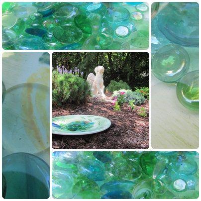 how to make a birdbath from a large salad plate, gardening, Collage of Birdbath in Garden