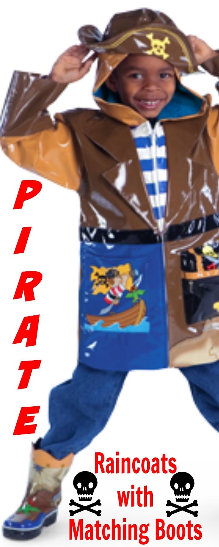 Children Raincoats with Matching Boots - My grandsons love Pirates, so these are the perfect kids raincoat with matching boots for them. We may never get them inside.