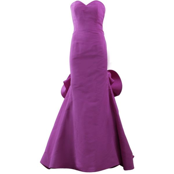 Oscar De La Renta Strapless Gathered Back Gown ($7,490) ❤ liked on Polyvore featuring dresses, gowns, strapless ball gown, strapless evening gown, purple gown, purple strapless dress et floor length evening dresses