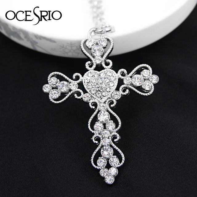 Gold Plated Big Cross Fashion Chain Necklaces Pendants 2016 For Women