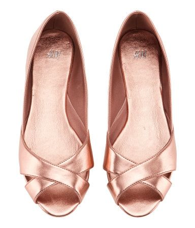 metallic pink open toe flats