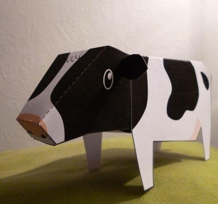 Paper Toy vache noire et blanche