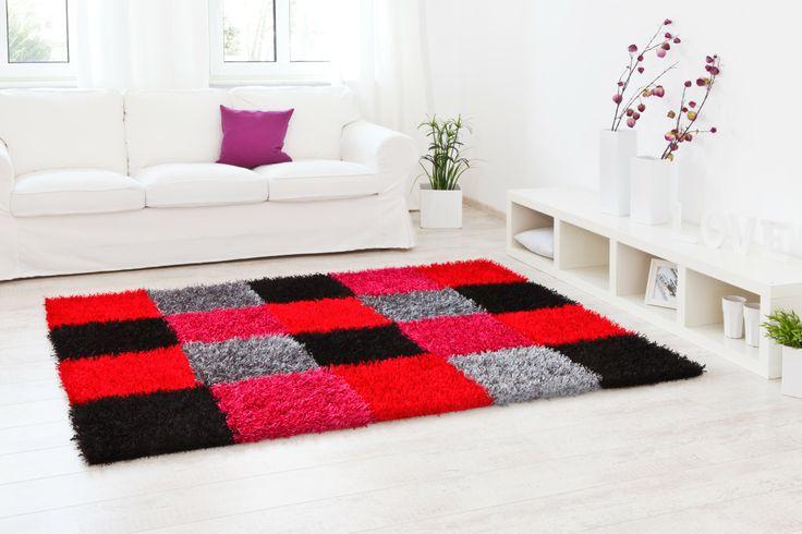 lineares Kachelmuster in rot, schwarz, pink und grau - Teppich Al Mano