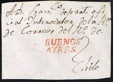 834 ARGENTINA TO CHILE PRE PHILATELIC FRAGMENT BUENOS AYRES