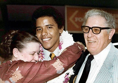 Presidential hopeful Barack Obama, in 1979 gets a hug during his high school graduation in Hawaii from his maternal grandparents, Stanley Armour Dunham and Madelyn Payne, both natives of Kansas.