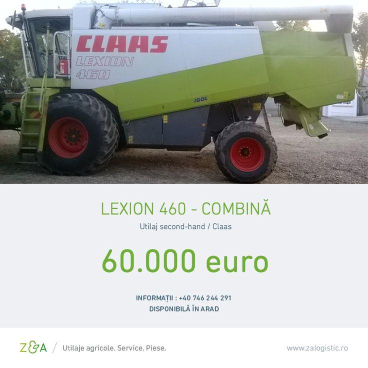 Combină Lexion 460, second hand, fabricată în 1998, în stare foarte bună de funcționare. Are masa de păioase de 7,5 m vario, 5.200 ore de funcționare și un buncăr cu capacitatea de 11.000 de litri.