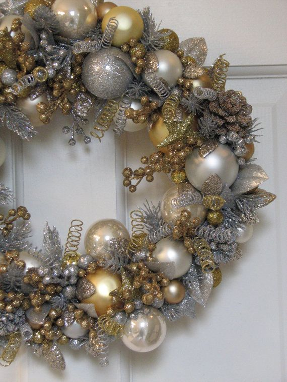 Silver and Gold Heirloom Christmas Wreath by CelebrateAndDecorate, $150.50