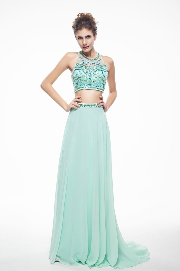 Two-piece A-line Straps Sweep/Brush Train Blue Tulle Prom/Cocktail Dress IS0160