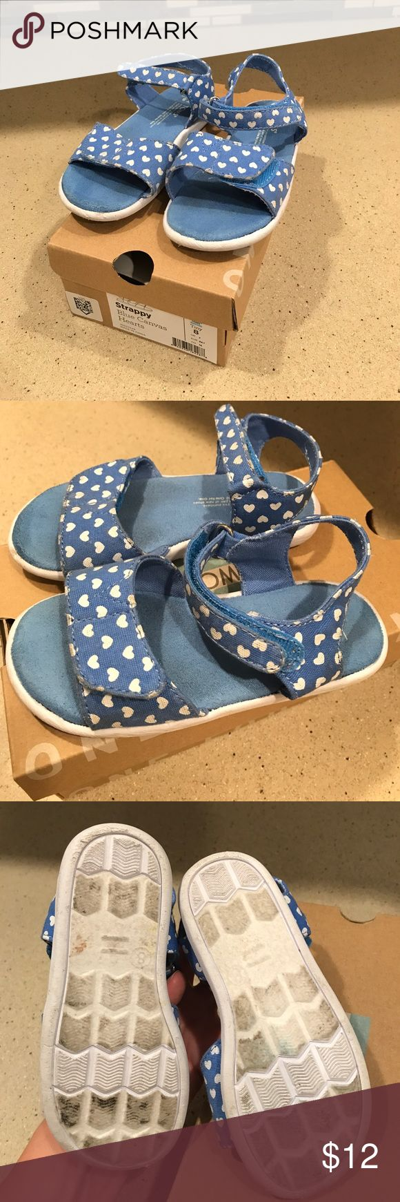 Spotted while shopping on Poshmark: Tiny Toms Strappy Blue Canvas Hearts Sandals sz 8! #poshmark #fashion #shopping #style #Toms #Other