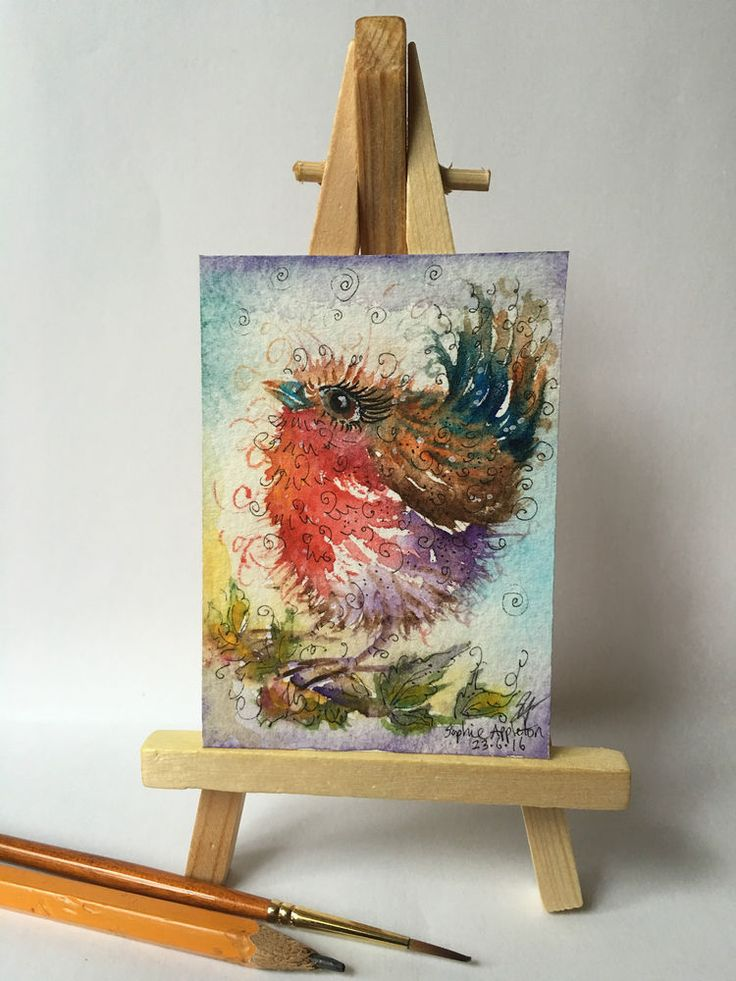 Original Watercolour Painting ACEO miniature Rockin Robin by Sophie Appleton